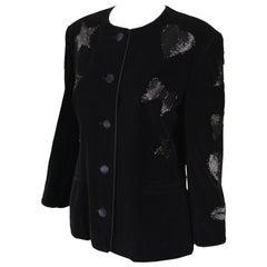 Escada Vintage 1980s Black Velvet Satin Trim Beaded Collarless Blazer Jacket