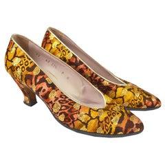 Escada Vintage 1980s Leopard Print Silk Gold Lamé Brocade Shoes Pumps