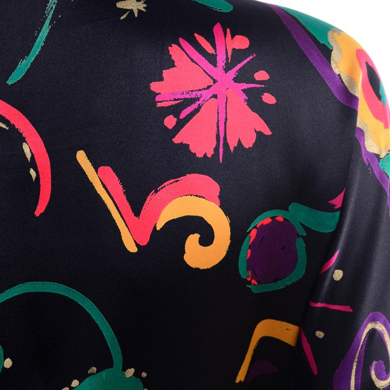 Escada Vintage Abstract Print 1980s Silk Statement Blouse Size 38 For Sale 5