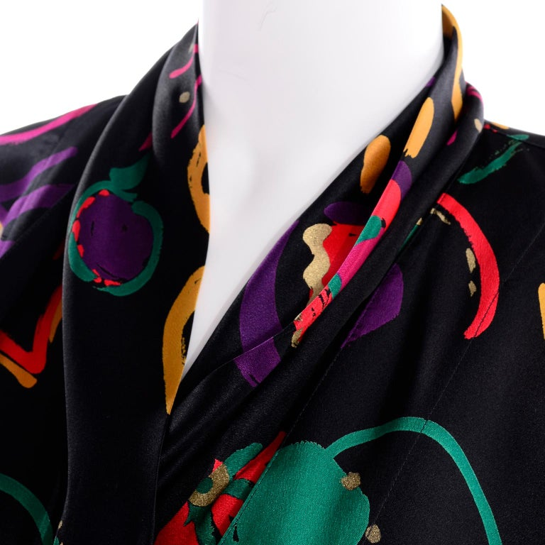 Escada Vintage Abstract Print 1980s Silk Statement Blouse Size 38 For Sale 6