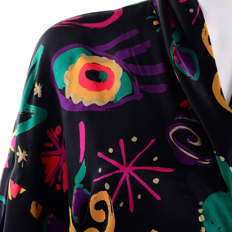 Escada Vintage Abstract Print 1980s Silk Statement Blouse Size 38 For Sale 8