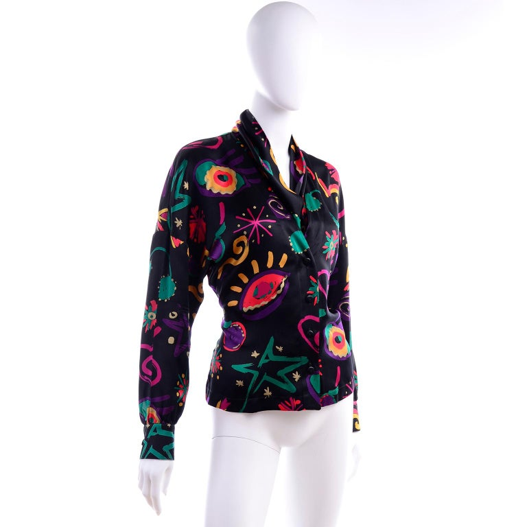 Black Escada Vintage Abstract Print 1980s Silk Statement Blouse Size 38 For Sale