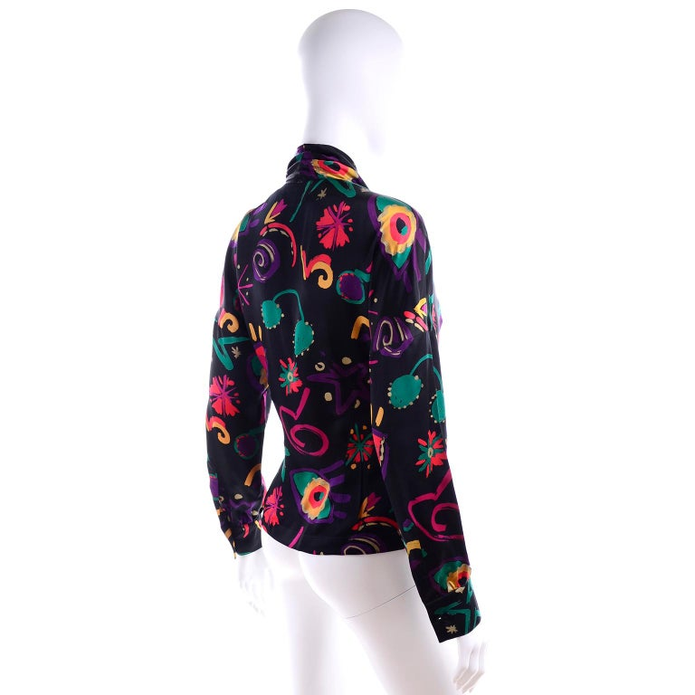Escada Vintage Abstract Print 1980s Silk Statement Blouse Size 38 In Excellent Condition For Sale In Portland, OR