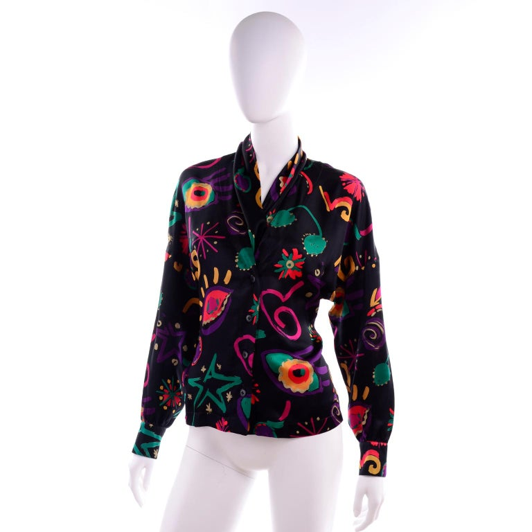 Escada Vintage Abstract Print 1980s Silk Statement Blouse Size 38 For Sale 2