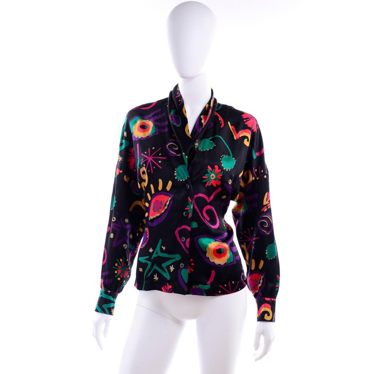 Escada Vintage Abstract Print 1980s Silk Statement Blouse Size 38 For Sale 3