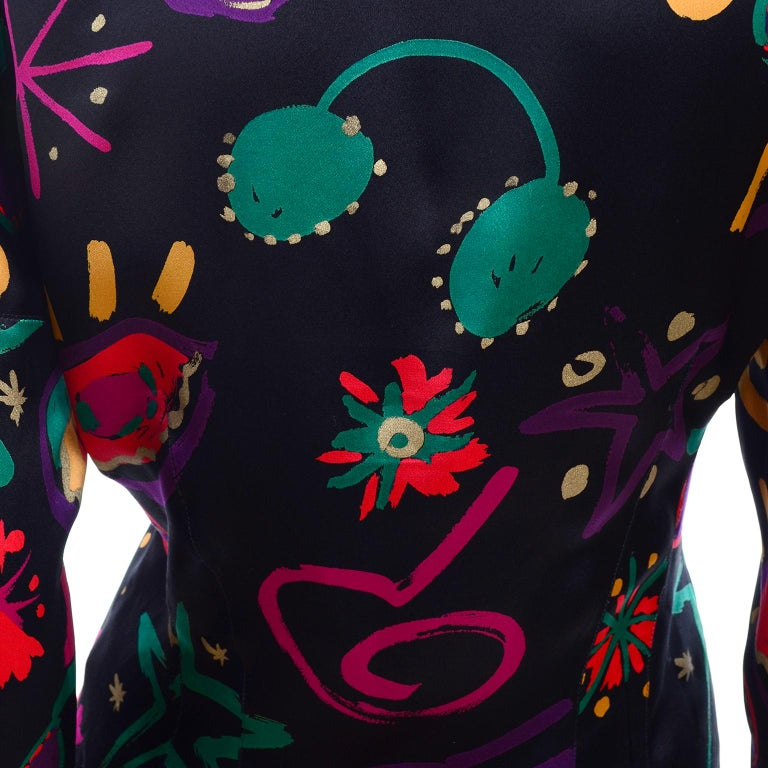 Escada Vintage Abstract Print 1980s Silk Statement Blouse Size 38 For Sale 4