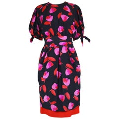 Escada Vintage Black & Red Floral Silk Short Sleeve Dress, 1990s