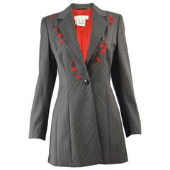 Escada Vintage Embroidered Women's Pinstripe Virgin Wool Blazer Jacket, 1990s