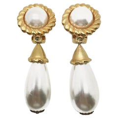 Escada Vintage Gold & Pearl Drop Statement Earrings 1980s