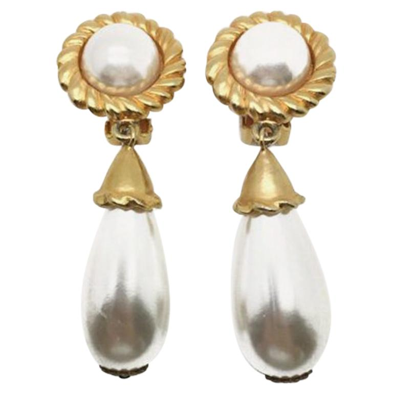 Escada Vintage Gold & Pearl Drop Statement Earrings 1980s For Sale