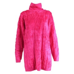 Escada Vintage Hot Pink Chenille Cable Knit Pattern Sweater Dress, 1980s