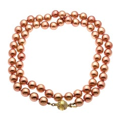 Escada Vintage Pink Faux Pearls Necklace with Gold Toned Rhinestone Closure