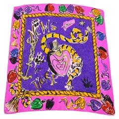 Escada Vintage Shocking Pink & Purple Tiger Perfume Print Foulard Scarf, 1980s