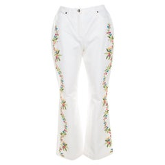 Escada White Cotton Stretch Denim Floral Embroidered Detail Flared Trousers M