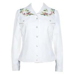 Escada White Denim Floral Embroidered Jacket M