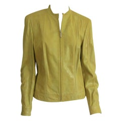 Escada Yellow Leather Fitted Jacket Reptile Embossed New With Tags 1990s