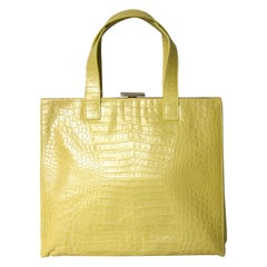 ESCADA YELLOW Pearl Croc Leather Large Handbag New, Never Used