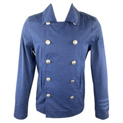 ESCALES Size M Blue Cotton Double Breasted Embossed Buttons Jacket