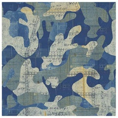 Escape, Blue Print Color-Way, on Pearl Smooth Vinyl Wallpaper