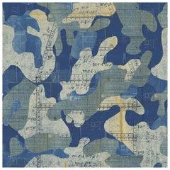 Escape, Blue Print Color-way, on Pearl Smooth Vinyl Wallpaper