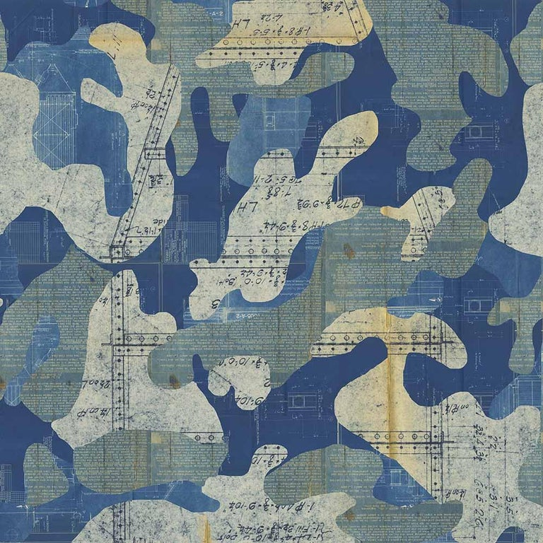 Escape, Cashmere Color-Way, on Pearl Smooth Vinyl Wallpaper For Sale 3