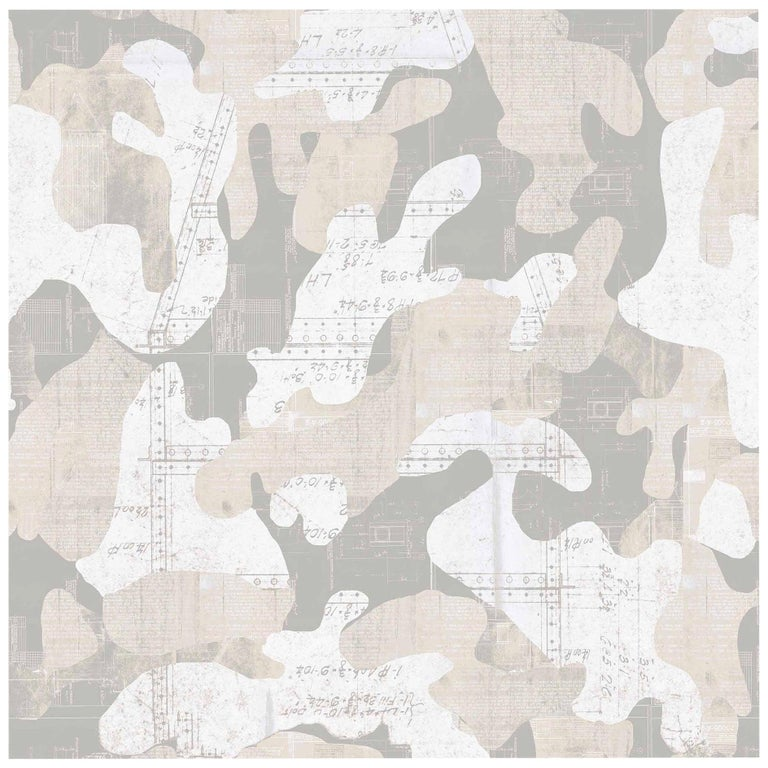 Escape, Cashmere Color-Way, on Pearl Smooth Vinyl Wallpaper For Sale