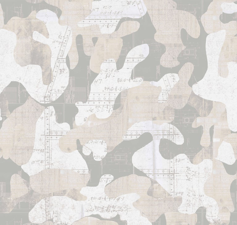Escape, Dusk Color-Way, on Pearl Smooth Vinyl Wallpaper For Sale 1