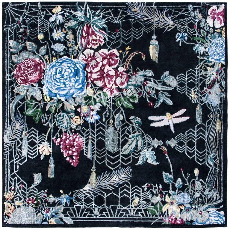 Escape Flowers Contemporary Handwoven Rug