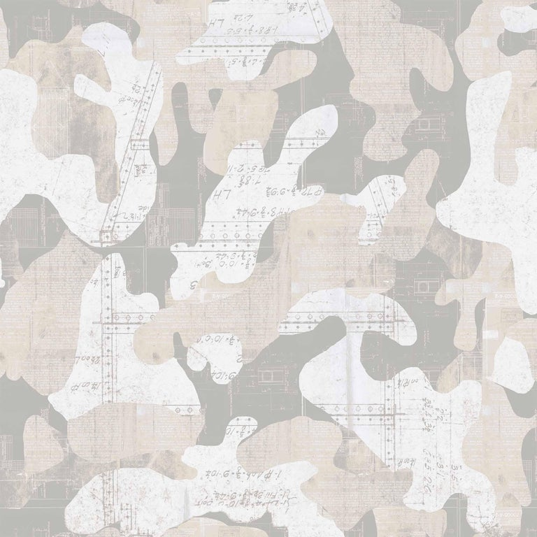 Escape was created using found vintage blue prints from the early to mid-1900s and placed into a fluid, hand drawn camouflage pattern. Intrigued by the idea that blue prints and camo have a utilitarian purpose, we combined them creating an opposite