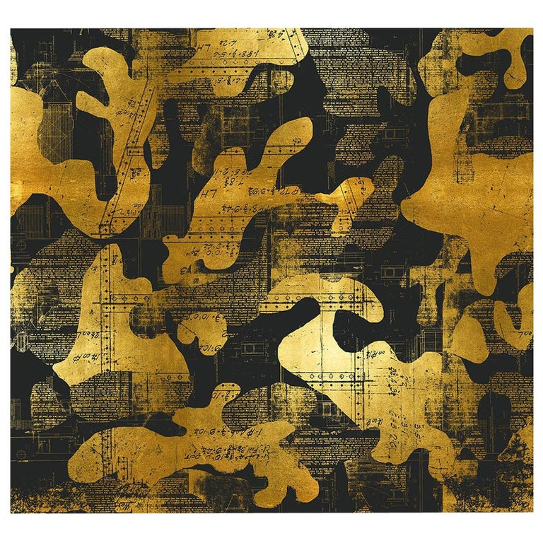 Escape, Gold on Black Color-Way, on Pearl Smooth Vinyl Wallpaper For Sale