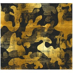 Escape, Gold on Black Color-Way, on Pearl Smooth Vinyl Wallpaper