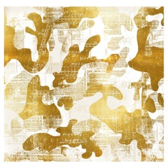 Escape, Gold on White Color-Way, on Pearl Smooth Vinyl Wallpaper