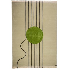Cream Wool Rug Lines & Green Circle in Silk by Cecilia Setterdahl for Carpets CC