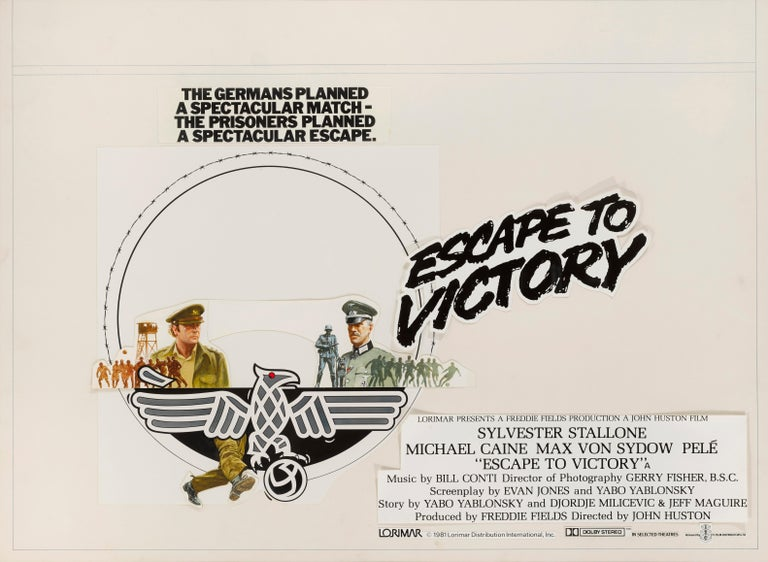 This is a unique original artwork mixed-media on art board used to create the British 30 x 40 inch film poster for the 1981 film Escape to Victory. This war film was directed by John Huston and stars Sylvester Stallone, Michael Caine, Pelé and Bobby