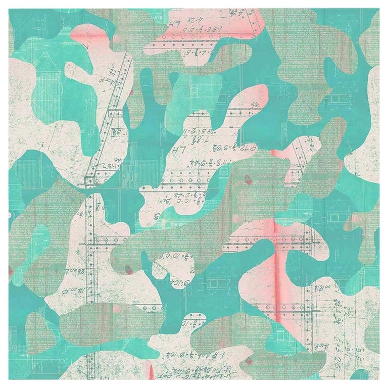 Escape, Watermelon Color-Way, on Pearl Smooth Vinyl Wallpaper For Sale