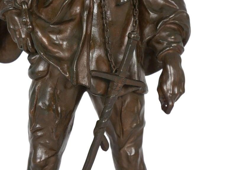 """""""Escholier, 14th Siècle"""" Antique French Bronze Sculpture by Emile Picault For Sale 5"""