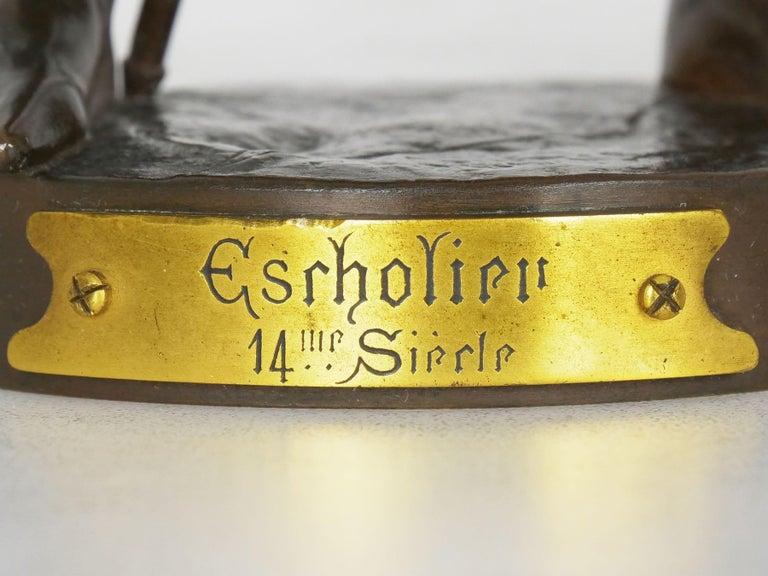 """""""Escholier, 14th Siècle"""" Antique French Bronze Sculpture by Emile Picault For Sale 6"""