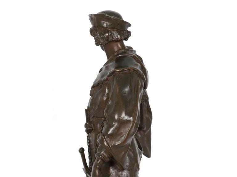 """""""Escholier, 14th Siècle"""" Antique French Bronze Sculpture by Emile Picault For Sale 7"""
