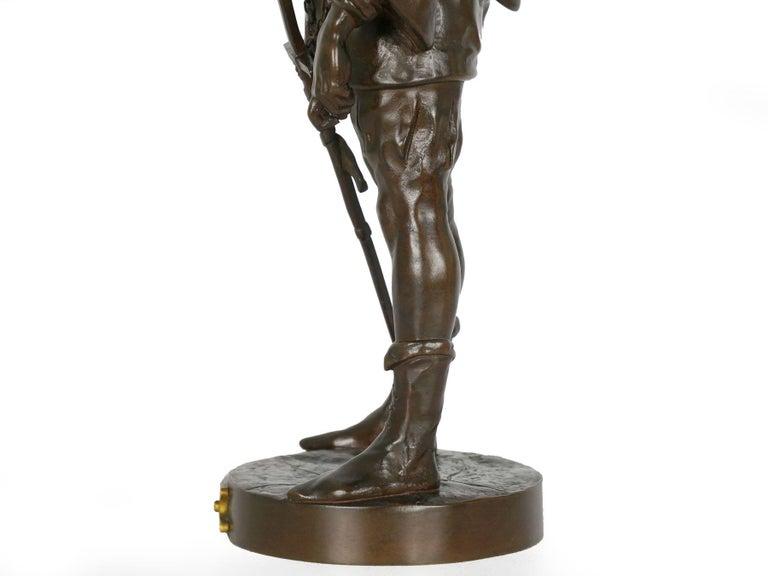 """""""Escholier, 14th Siècle"""" Antique French Bronze Sculpture by Emile Picault For Sale 8"""