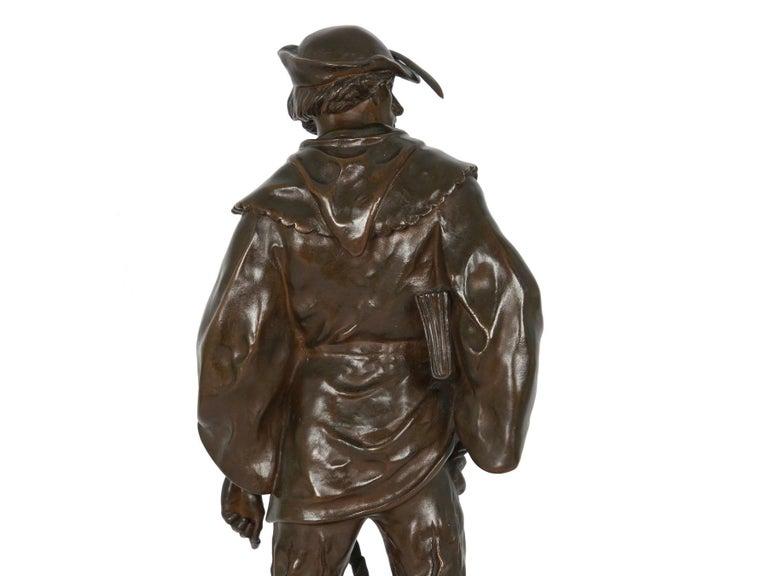 """""""Escholier, 14th Siècle"""" Antique French Bronze Sculpture by Emile Picault For Sale 9"""