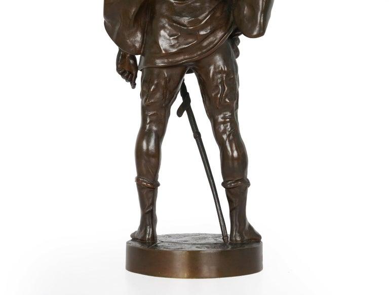 """""""Escholier, 14th Siècle"""" Antique French Bronze Sculpture by Emile Picault For Sale 10"""