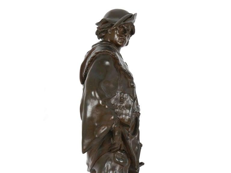 """""""Escholier, 14th Siècle"""" Antique French Bronze Sculpture by Emile Picault For Sale 11"""