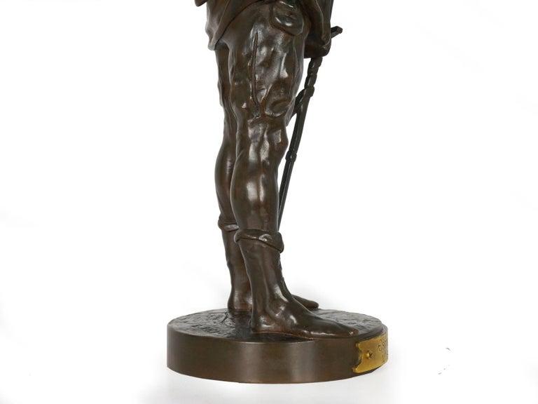 """""""Escholier, 14th Siècle"""" Antique French Bronze Sculpture by Emile Picault For Sale 12"""