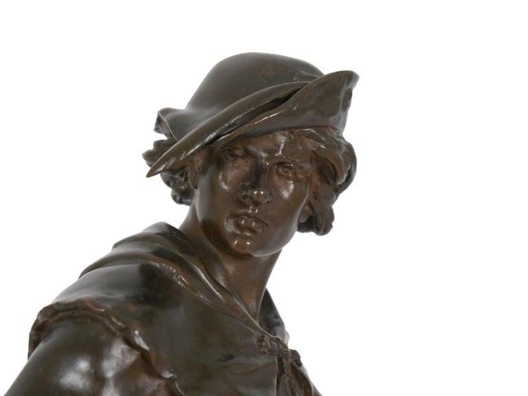 """""""Escholier, 14th Siècle"""" Antique French Bronze Sculpture by Emile Picault For Sale 14"""