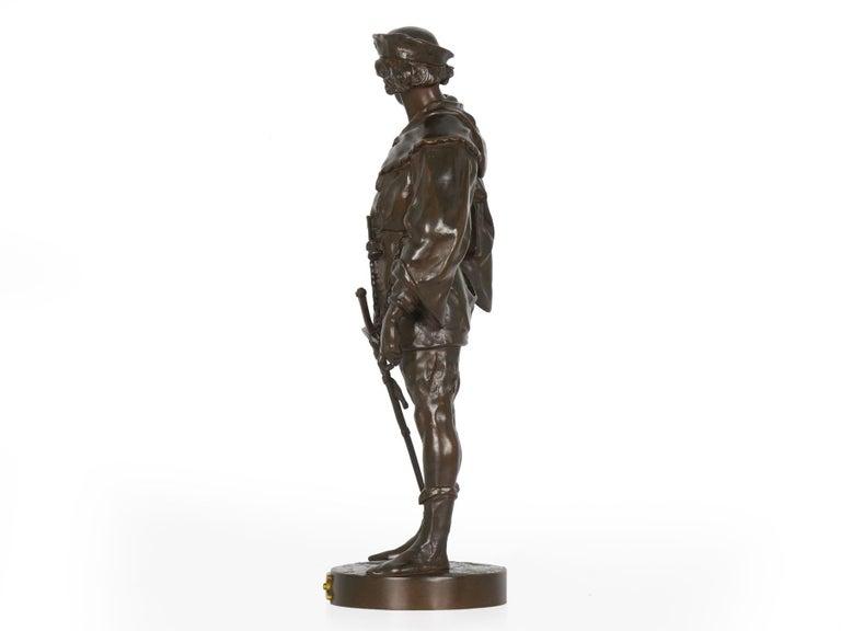 """Romantic """"Escholier, 14th Siècle"""" Antique French Bronze Sculpture by Emile Picault For Sale"""
