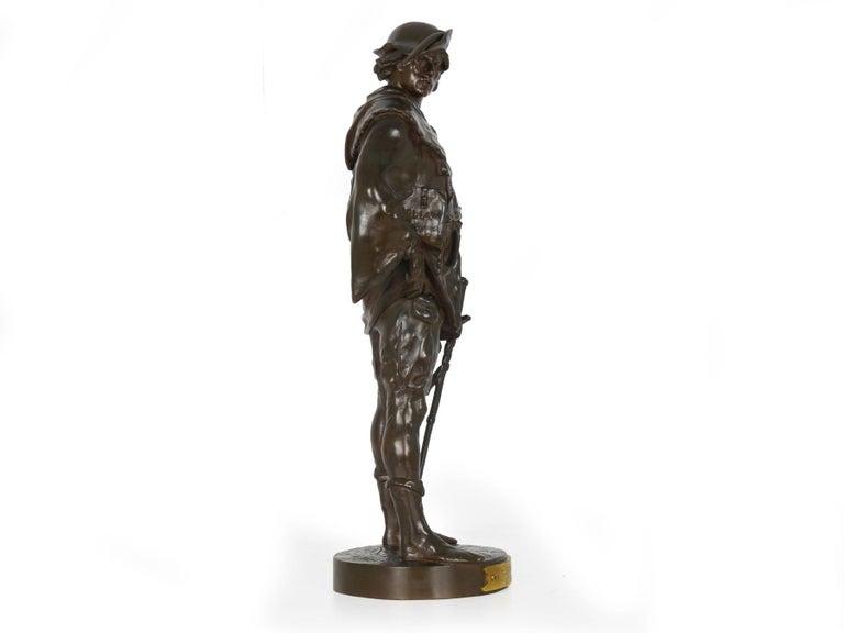 "20th Century ""Escholier, 14th Siècle"" Antique French Bronze Sculpture by Emile Picault For Sale"