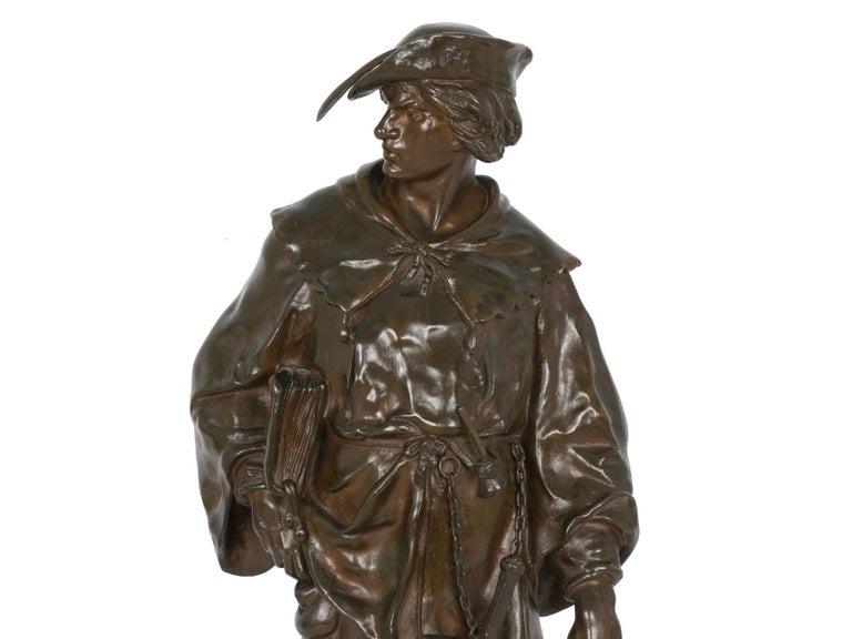 """""""Escholier, 14th Siècle"""" Antique French Bronze Sculpture by Emile Picault For Sale 1"""