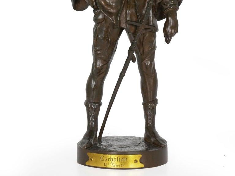 """""""Escholier, 14th Siècle"""" Antique French Bronze Sculpture by Emile Picault For Sale 2"""