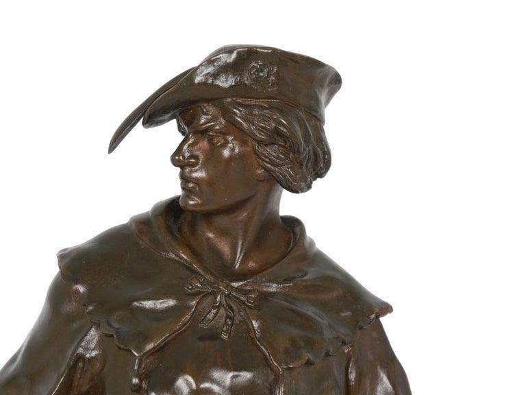 """""""Escholier, 14th Siècle"""" Antique French Bronze Sculpture by Emile Picault For Sale 3"""
