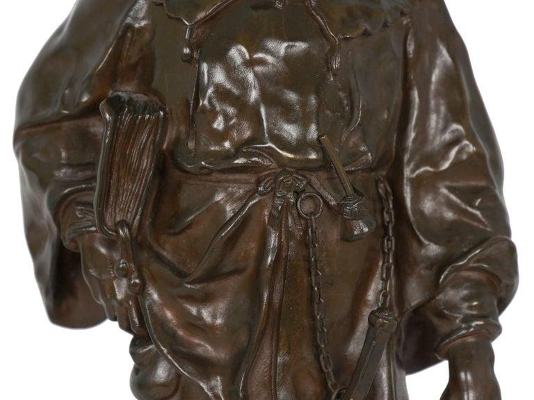 """""""Escholier, 14th Siècle"""" Antique French Bronze Sculpture by Emile Picault For Sale 4"""